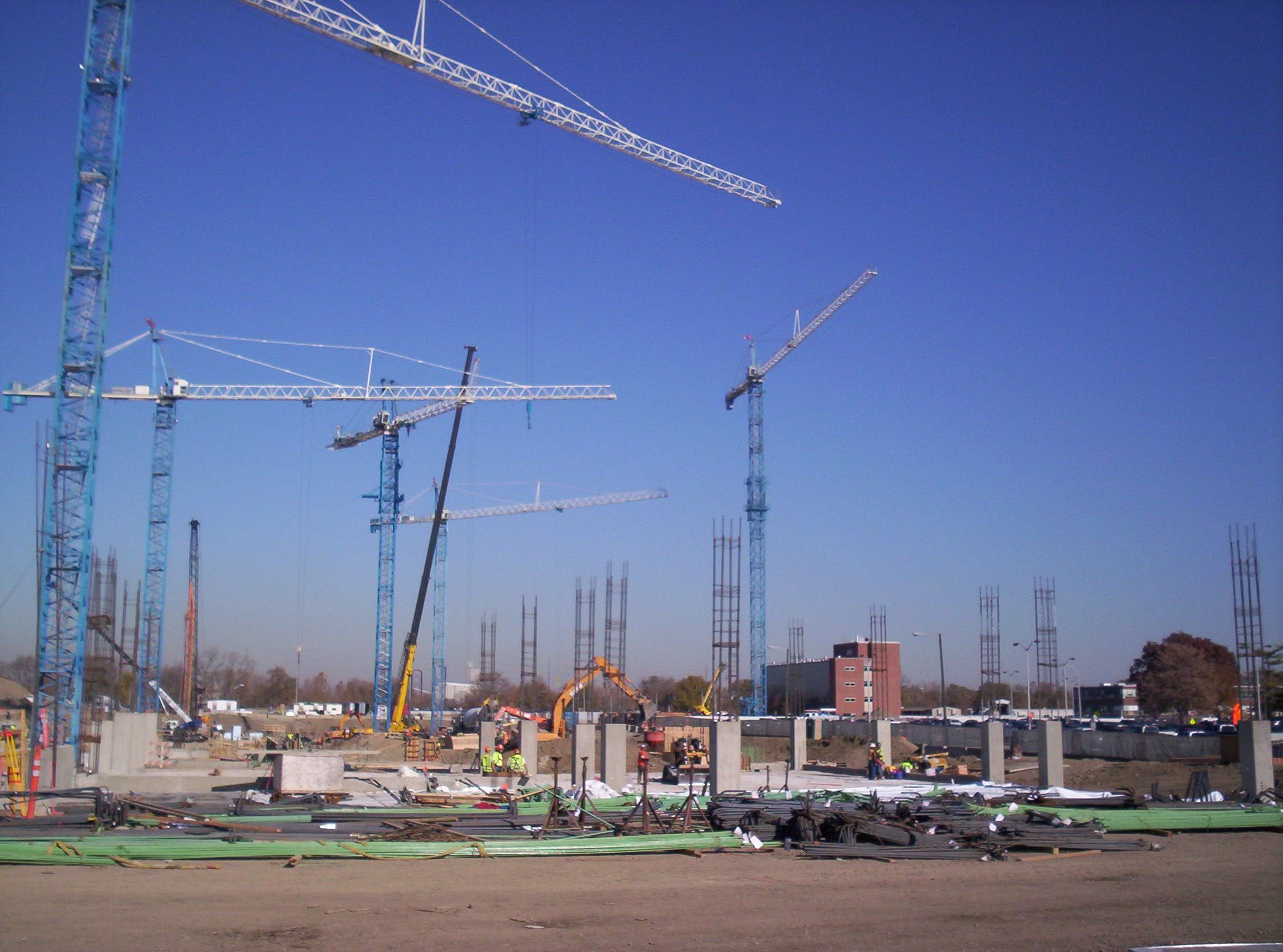 Five tower cranes at the new Wishard Hospital in Indianapolis
