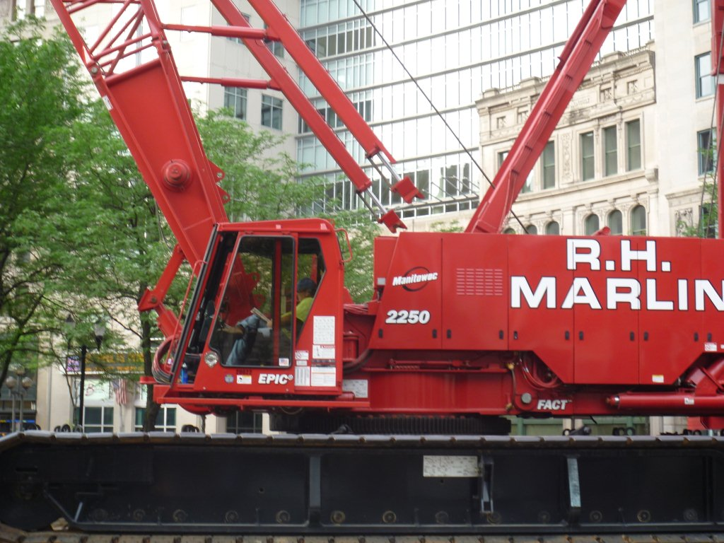 Mike Adkins operating Crane on the Circle in Downtown Indy