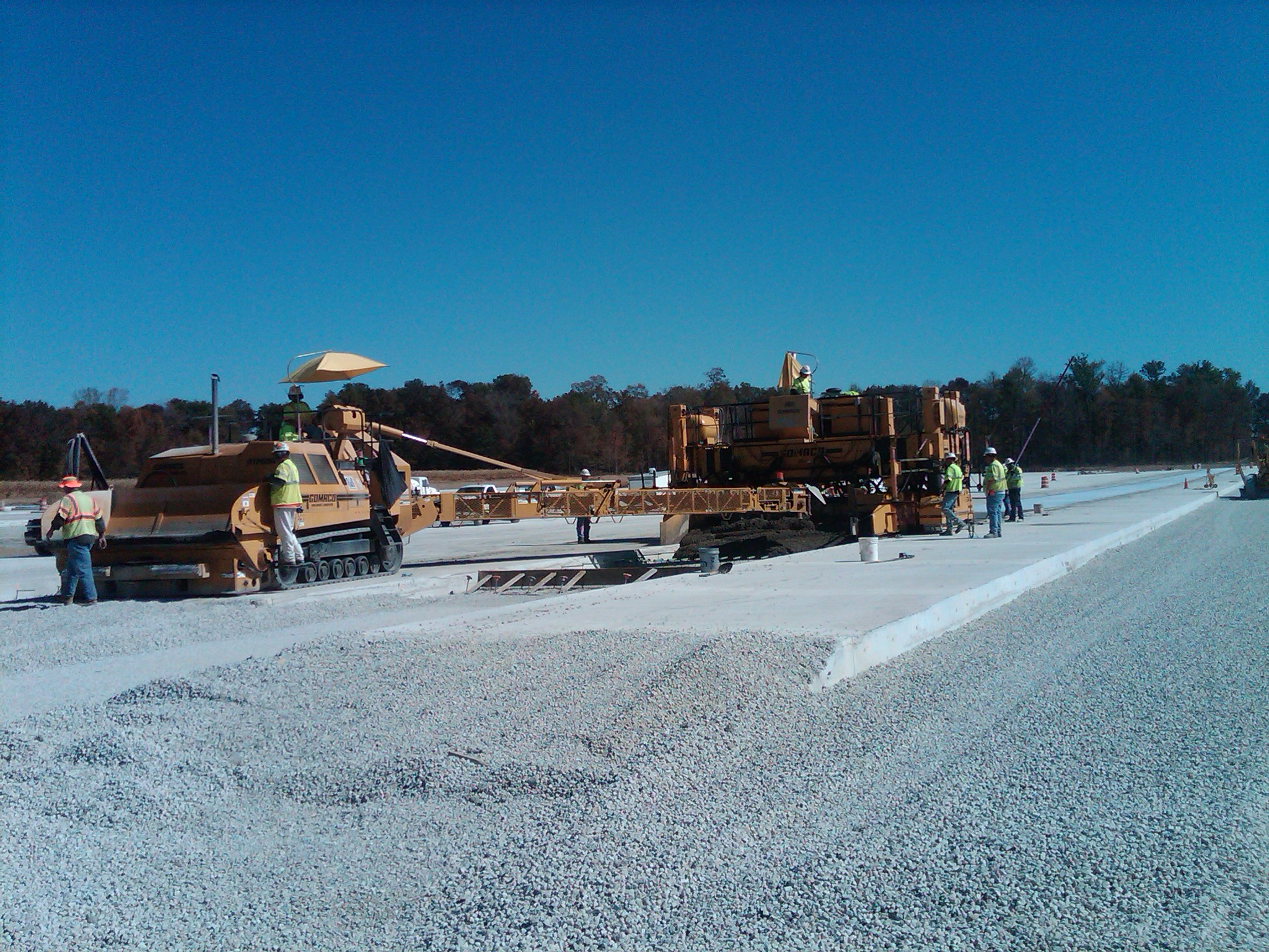 Milestone paving crew at I-70 rest area in Centerville.