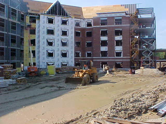Scott Fernandes operating a front end loader for 3D Co. at the new Dormitory for Ball State